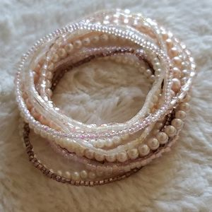 Carolee Set of Pearl and Sequined Bracelets